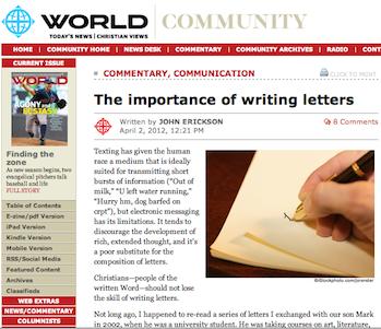 Screenshot of world mag article